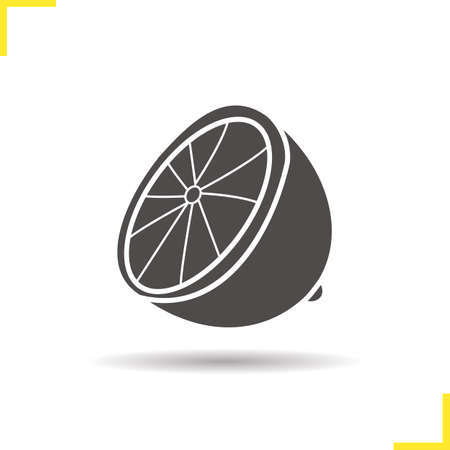 halved: Lemon icon. Drop shadow lime silhouette symbol. Citrus. Halved tropical fruit. Vector isolated illustration