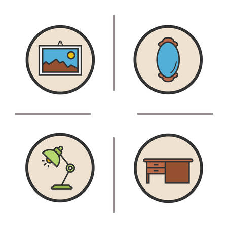 framed picture: Furniture color icons set. Modern house interior items. Framed picture and wall mirror. Office table and desk lamp. Vector isolated illustrations Illustration