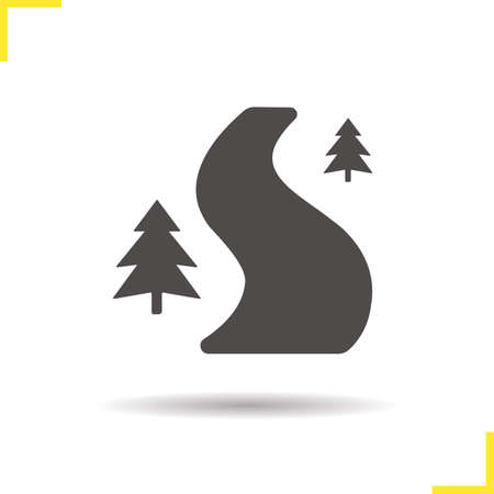 country road: Forest road icon. Drop shadow country road silhouette symbol. Curved forest road. Winding forest road  concept. Vector forest road isolated illustration Illustration
