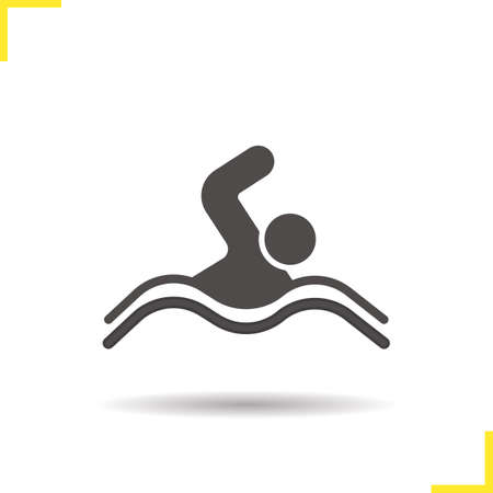 swimming silhouette: Swimmer icon. Isolated swimmer vector illustration. Drop shadow swimming pool icon. Swimmer athlete competition. Swimmer symbol. Swimmer icon  concept. Vector swimming. Silhouette swimmer symbol Illustration