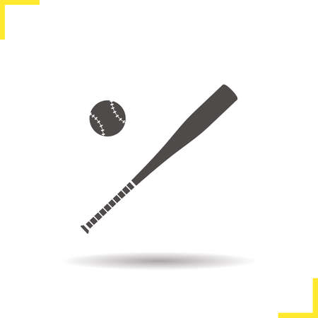 pitching: Baseball bat and ball icon. Drop shadow softball silhouette symbol. Baseball player equipment. Vector isolated illustration