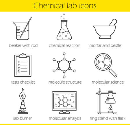 chemistry lab: Chemical laboratory equipment linear icons set. Beaker with rod, chemical reaction and test checklist. Molecule structure and lab burner. Chemistry lab tools. Thin line. Isolated vector illustrations