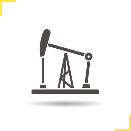 oil and gas industry: Oil pumpjack icon. Drop shadow silhouette symbol. Gas industry tower. Vector isolated illustration