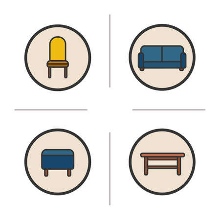 upholstered: Sitting furniture color icons set. Modern house interior items. Upholstered chair, stool, sofa and wooden bench. Vector isolated illustrations