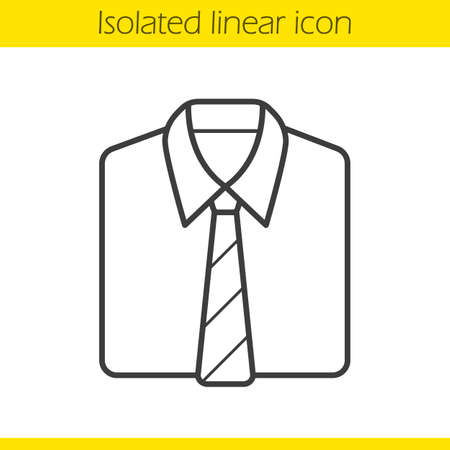formal shirt: Shirt and tie linear icon. Formal mens clothes. Uniform thin line illustration. Shirt and tie contour symbol. Vector isolated outline drawing
