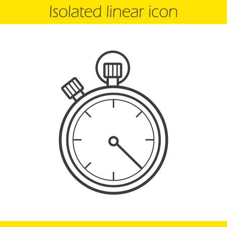 competitions: Stopwatch linear icon. Timer thin line illustration. Sport competitions time measurement tool contour symbol. Stopwatch  concept. Vector isolated outline drawing Illustration