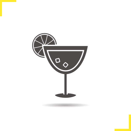 Cocktail icon. Drop shadow alcohol cocktail drink silhouette symbol. Alcoholic beverage glass. Cocktail  concept. Vector alcohol cocktail drink isolated illustration Illustration