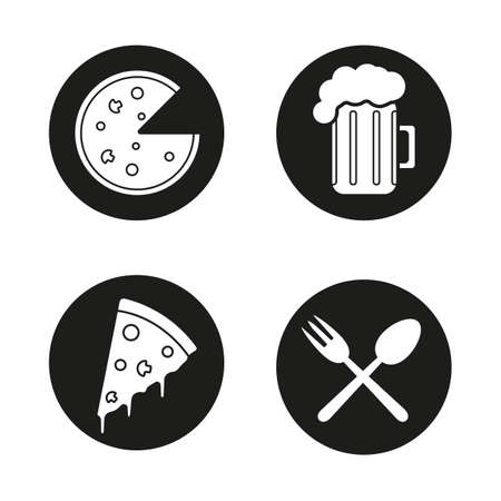 eatery: Pizzeria black icons set. Cafe and restaurant menu items. Pizza slice, beer mug and eatery symbols. Vector white illustrations in circles