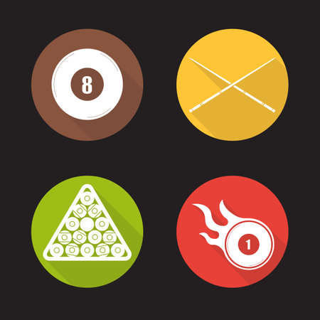bola ocho: establecen billar dise�o plana iconos larga sombra. Ocho bolas, tacos, estante de la pelota, la quema. equipo de la piscina. Cuesports accesorios. s�mbolos del vector Vectores