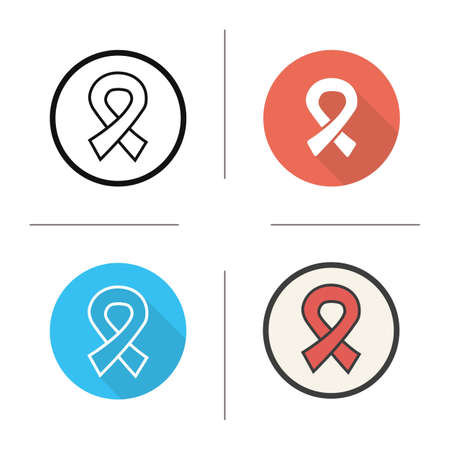 hiv awareness: AIDS ribbon icon. Flat design, linear and color styles. HIV ribbon. AIDS awareness isolated vector illustrations