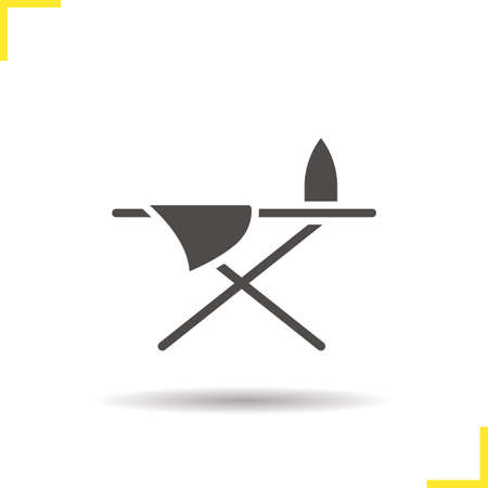 ironing: Ironing board icon. Drop shadow iron and sheet silhouette symbol. Ironing table. Vector isolated illustration