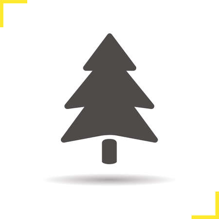 spruce tree: Fir tree icon. Drop shadow pine tree silhouette symbol. Spruce tree icon. Coniferous tree. Forest icon. Fir tree  concept. Isolated vector illustration