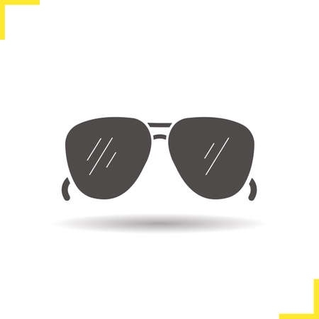sun glasses: Sunglasses icon. Isolated sunglasses illustration. Drop shadow sun glasses icon. Mens summer fashion accessory. Sunglasses  concept. Vector man sunglasses. Silhouette sunglasses symbol Illustration