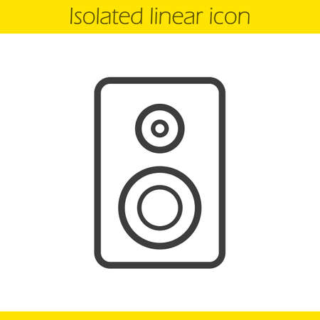 computer speaker: Speaker linear icon. Electronic studio equipment thin line illustration. Computer speaker contour symbol. Vector isolated outline drawing Illustration
