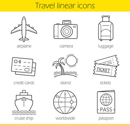 lugagge: Travelling linear icons set. Airplane, camera, lugagge, credit cards, island, tickets, cruise ship, worldwide and passport symbols. Thin line. Isolated vector illustrations Illustration
