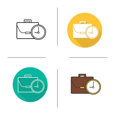 working hours: Work time icon. Flat design, linear and color styles. Working hours isolated vector illustrations