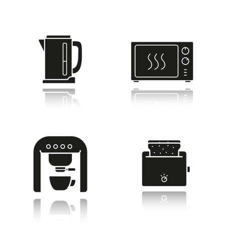 black appliances: Kitchen appliances drop shadow black icons set. Electric kettle, microwave oven, coffee machine and toaster. Isolated vector illustrations Illustration
