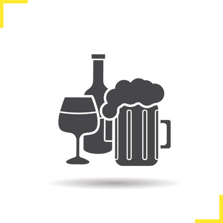 foamy: Alcohol icon. Drop shadow foamy beer mug, wineglass and wine bottle silhouette symbol. Alcoholic drinks. Vector isolated illustration