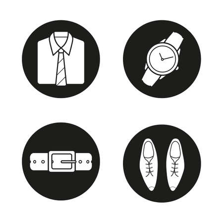 varnished: Mens accessories icons set. Shirt and tie, wristwatch, leather belt and classic shoes. Vector white silhouettes illustrations in black circles Illustration
