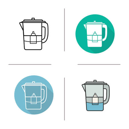 water filter: Water filter icon. Flat design, linear and color styles. Isolated vector illustrations