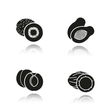 sliced fruit: Fruit drop shadow black icons set. Halved kiwifruit, cutted papaya, sliced apricot and opencoconut. Isolated vector illustrations