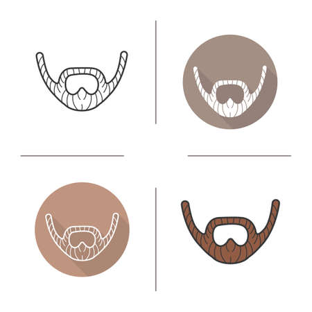 facial hair: Beard icon. Flat design, linear and color styles. Adult man facial hair. Mustache isolated vector illustrations Illustration