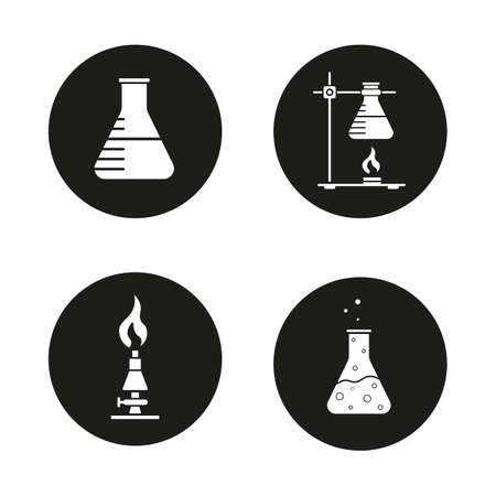 chemistry lab: Chemical lab icons set. Beaker, ring stand with flask, lan burner and chemical reaction. Vector white illustrations in black circles