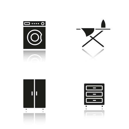 dresser: Furniture drop shadow black icons set. Washing machine, dresser, wardrobe and ironing board. Isolated vector illustrations