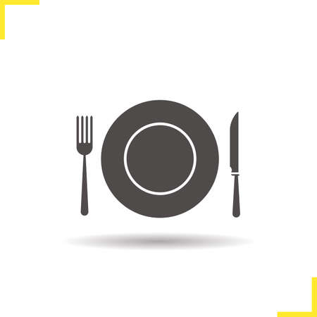 eatery: Eatery icon. Drop shadow restaurant and cafe silhouette symbol. Tableware set. Vector isolated illustration