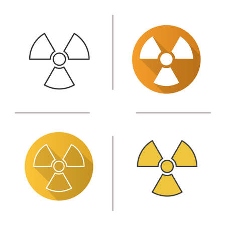 radioactive symbol: Radiation sign icon. Flat design, linear and color styles. Radioactive danger symbol. Nuclear energy isolated vector illustrations