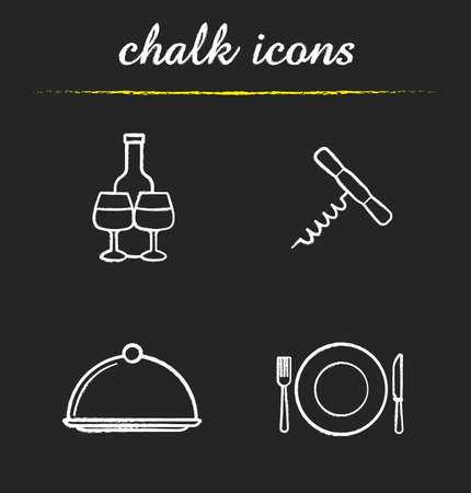 eatery: Restaurant kitchen equipment icons set. Wine bottle and glasses, corkscrew, covered dish, fork, plate and knife illustrations. Eatery isolated vector chalkboard drawings