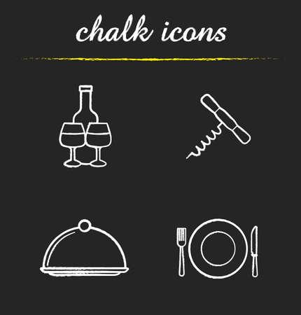 Restaurant Küchengeräte-Icons gesetzt. Weinflasche und Gläser, Korkenzieher, Schale mit Deckel, Gabel, Teller und Messer Abbildungen. Eatery isoliert Vektor Tafel Zeichnungen