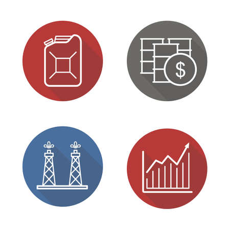 barrels set: Oil industry flat linear long shadow icons set. Oil rig and barrels, petrol can, and growth chart. Oil trade. Vector