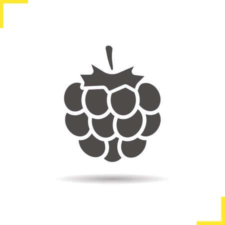 Raspberry icoon. Slagschaduw blackberry silhouet symbool. Framboos bessen. Vector geïsoleerde illustratie