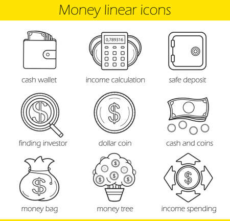 spending: Money linear icons set. Cash wallet, income calculation and safe deposit. Money bag, income spending, dollar coin, finding investor and money tree. Thin line. Isolated vector illustrations Illustration