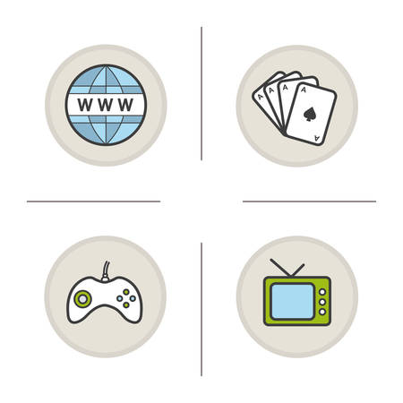 cards deck: Bad habits color icons set. Internet, cards deck, gamepad and tv. Addictions. Vector isolated illustrations Illustration