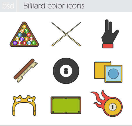 bola ocho: Billiard color icons set. Ball rack, cues, glove, brush, eight ball, chalk, rest head, table and burning ball. Vector isolated illustrations