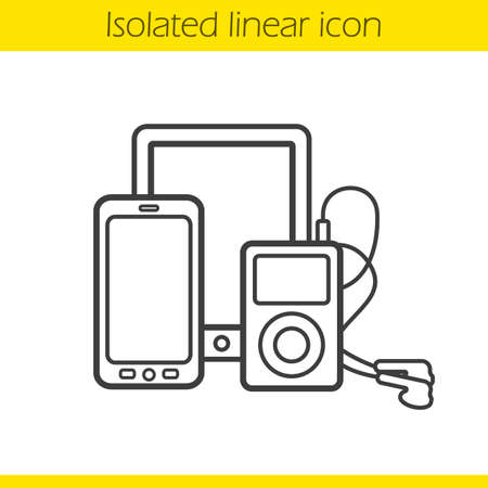 mp3 player: Digital gadgets linear icon. Tablet computer, smartphone and mp3 player with earphones. Multimedia electronic devices thin line illustration. Gadgets contour symbol. Vector isolated outline drawing