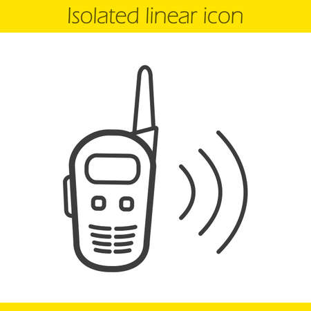 walkie talkie: Radio set linear icon. Walkie talkie thin line illustration. Radio transceiver contour symbol. Vector isolated outline drawing