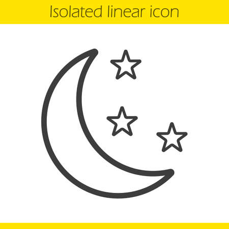 bedtime: Night linear icon. Moon and stars thin line illustration. Bedtime contour symbol. Vector isolated outline drawing