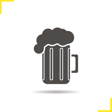 foamy: Beer mug icon. Drop shadow lager glass silhouette symbol. Foamy beer pint. Vector isolated illustration