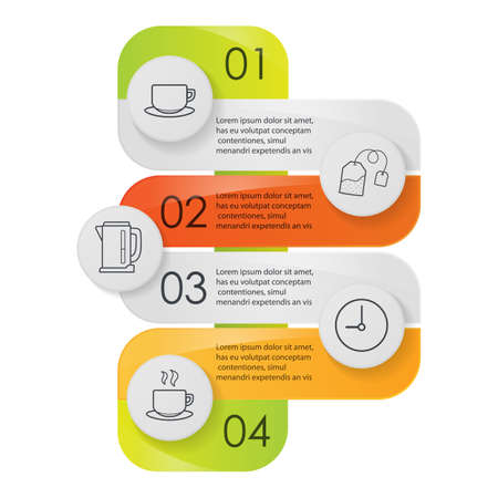 instruction: Tea infographics. Tea making instruction graphic concept. Vector illustration