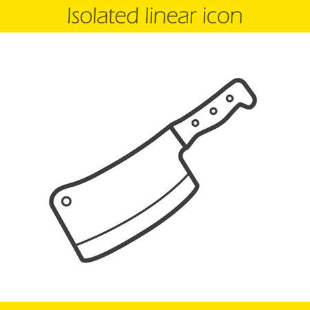 Butcher's knife linear icon. Kitchen instrument. Cooking tool. Chopper thin line illustration. Cleaver contour symbol. Vector isolated outline drawing