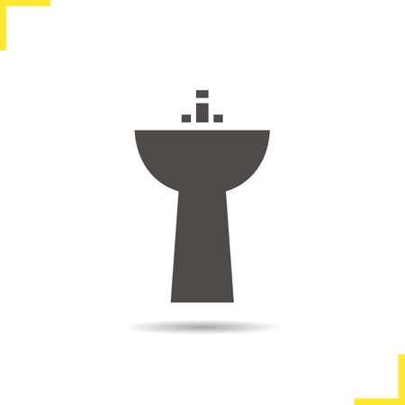 washbowl: Sink icon. Drop shadow washbasin silhouette symbol. Ceramic washbowl. Vector isolated illustration