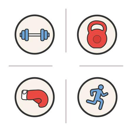 スポーツ色のアイコンを設定します。ジムのバーベル ・ ケトルベル、男とボクシング グローブを実行します。分離されたベクトルのイラスト