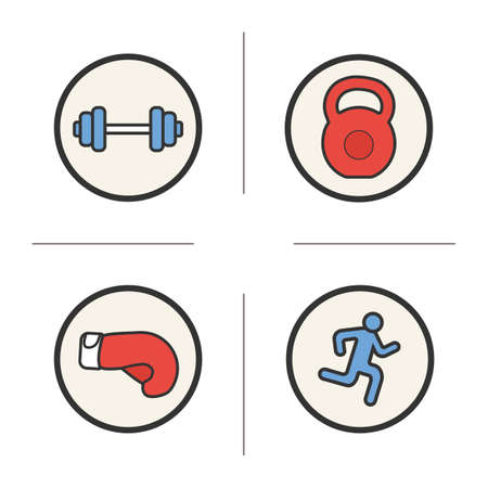 Sport color icons set. Gym barbell and kettlebell, running man and boxing glove. Vector isolated illustrations Illustration