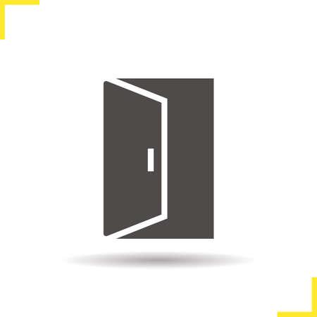 open doorway: Open door icon. Drop shadow doorway silhouette symbol. Building exit. Vector isolated illustration