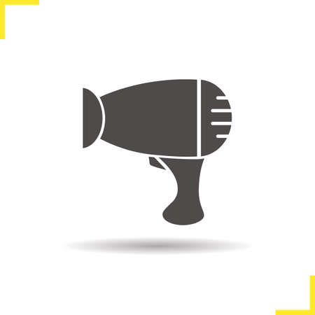 hairdryer: Hairdryer icon. Drop shadow silhouette symbol. Hair dryer. Vector isolated illustration