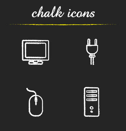 tv unit: Computer icons set. PC monitor, power socket plug, computer mouse and system unit illustrations. Isolated vector chalkboard drawings Illustration