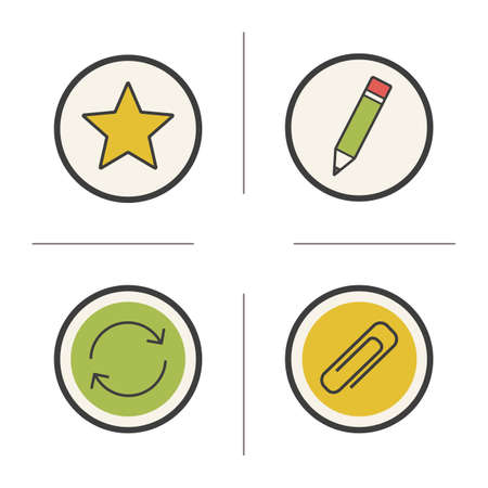 favourite: File manager color icons set. Star, pencil, arrows and paperclip. Favourite, edit, refresh and save symbols. Vector isolated illustrations